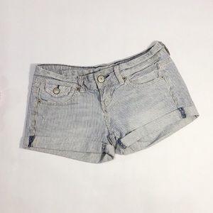 American Eagle Denim Mini Shorts Striped Size 0